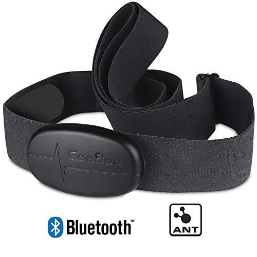 🥇 CooSpo Banda de Frecuencia Cardiaca Bluetooth 4.0 Ant+ Monitor Sensor de Frecuencia Cardíaca Compatible con Garmin Wahoo Zwift Endomodo y Otros