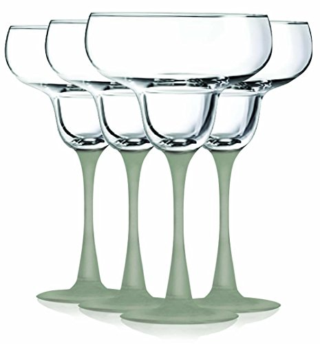 Frost Margarita Glasses with Beautiful Colored Stem Accent - 14.5 oz. set of 4- Additional Vibrant Colors Available by TableTop King by TableTop King