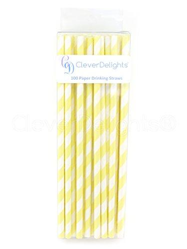 CleverDelights Biodegradable Paper Straws - Lemonade Stripe - Box of 100 - Light Yellow (Stripes Lemonade)