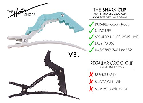 The Hair Shop Shark Clip | Enhanced Croc Crocodile Alligator Grip Clip | Sectioning Tool for Women | US Patented | Professional Salon Quality (10 Pack) (Pink)