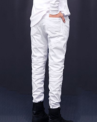 De Slim Fit Biker Diseño Típico Denim Motero Vaqueros Vaqueros blanco En Hombre Estilo gxq8U8I