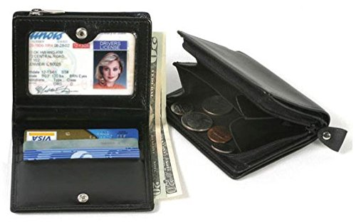 Winn Napa Leather Wallet with Zippered Coin Pocket & Currency, Black (Coin Pocket Zippered)