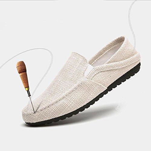 XUEQIN Scarpe da uomo di tendenza del colore della crema di pattini dei pattini di un piede Gli uomini vecchi di Pechino calza i pattini di marea della tela di canapa ( dimensioni : EU40/UK7/CN41 )