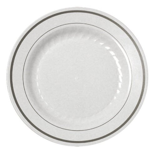 """Disposable Reusable Appetizer Dinner Dessert Salad Plate for Party Catering Wedding Birthday Anniversary Shower (15 Pieces 6"""", White & Silver Bands)"""