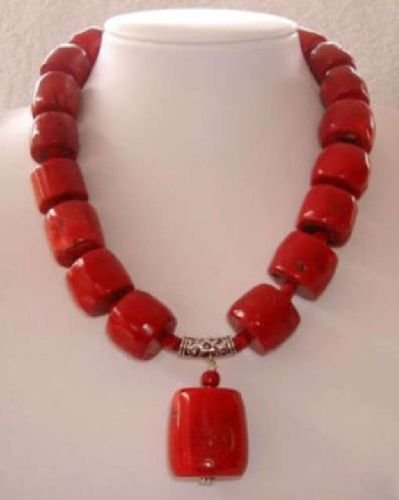 - Beautiful new style women's Red Cylinder Coral Gemstone Necklace 18