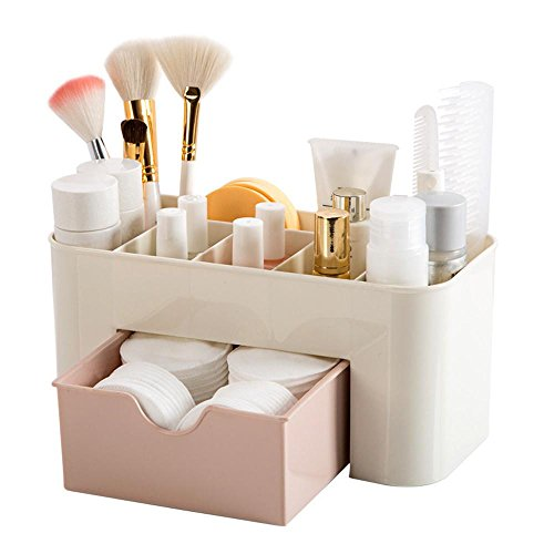 Space Desktop Comestics Makeup Storage Drawer Type Box (Pink) (Duo Drawer)
