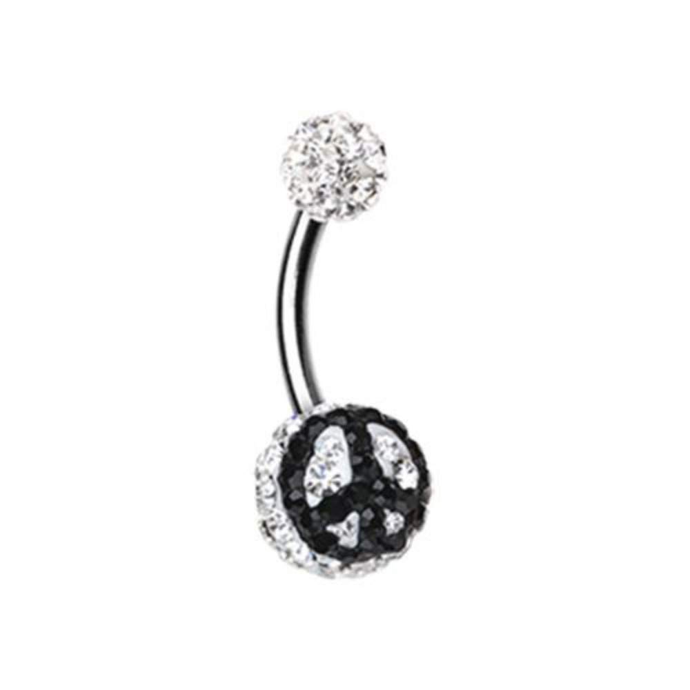 Sold Individually 14 GA Peace Sign Multi-Sprinkle Dot Belly Button Ring