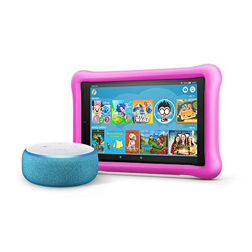 All-New Echo Dot Kids Edition, Blue with Fire HD 8 Kids Edition Tablet, Pink