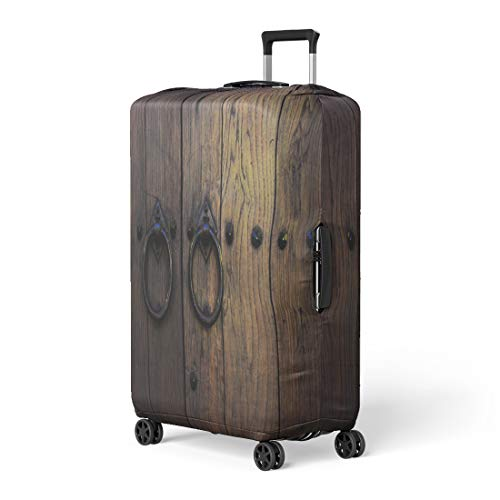 (Pinbeam Luggage Cover Brown Wood Old Wooden Doors Rings Yellow Aged Travel Suitcase Cover Protector Baggage Case Fits 22-24 inches)