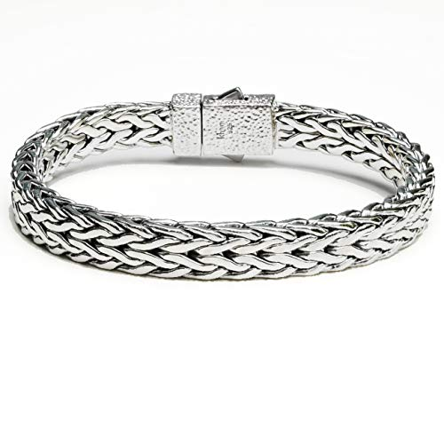 (8.6mm Men Braided Bracelet 925 Sterling Silver Woven Bali Thick Link Chain Bracelet Length 7.5,8,8.5,9 inches)