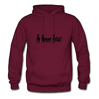 My Mommy Rocks Customized X-large Sweatshirts Women Cotton For Burgundy