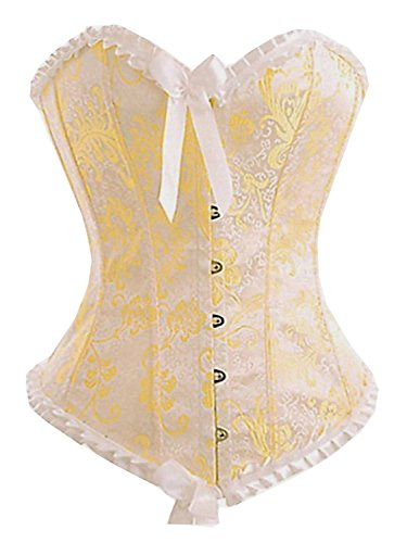 Yellow Corset (Camellias Women's Yellow Strapless Ivory Brocade Boned Corset Bustier Top,SZ1054-Yellow-M)