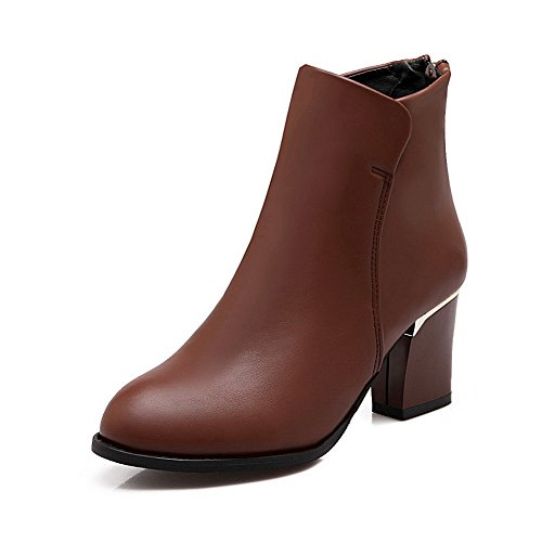 1TO9 Ladies Back Zipper Solid Mule Imitated Leather Boots Brown 38I7qY7