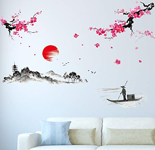 Amazon Brand – Solimo Wall Sticker for Living Room (The Lake & The Mountains, Ideal Size on Wall – 200 cm x 150 cm)