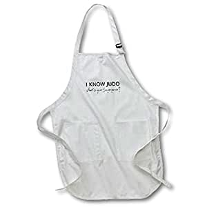 3dRose I know Judo - Whats your superpower - for Judo fan, Judoka or sensei - Full Length Apron, 22 by 30-inch, Black, With Pockets (apr_194463_4)