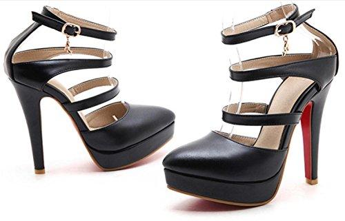 YCMDM Womens artificiale PU High Heel Salsa Tango ballo latino Monk Strap Sandals di ballo di sera del partito da sposa , black , 36