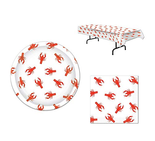 Crawfish Party Bundle for 16: Plates, Napkins and Tablecover