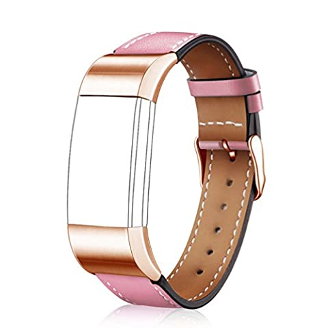Wearlizer Replacement Leather Strap for Fitbit Charge 2 , ( Pink, Rose Gold Buckle , Small ) (Hart Bit Watches)