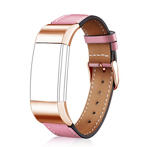 Wearlizer Replacement Leather Strap for Fitbit Charge 2 , ( Pink, Rose Gold Buckle , Small )