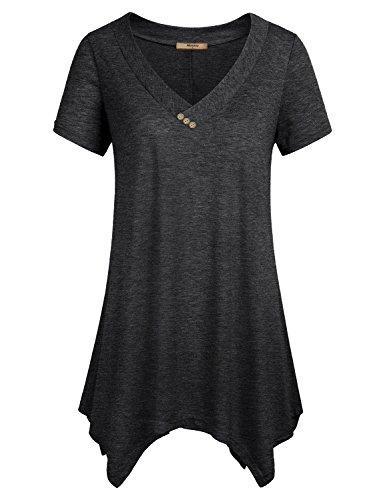 Black Tunic ,Miusey Womens Short Sleeve Shirts V Neck Handkerchief Hem Flare Flowy Top XL