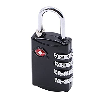 TSA Lock-4 Digit Combination Lock-Travel Lock-Luggage Lock-Security Suitcase Lock for Travel Safety with (Black)