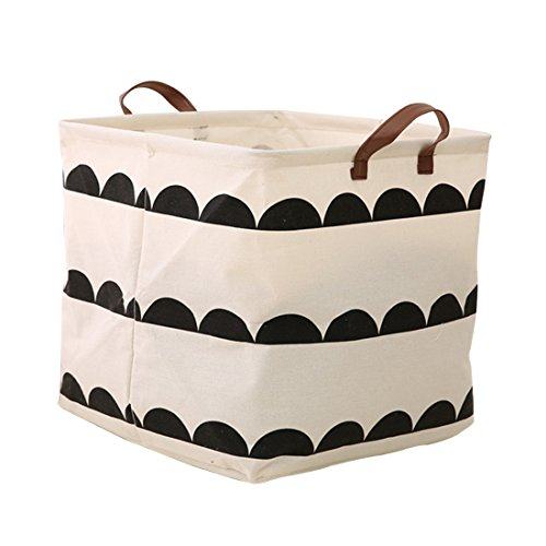 Square Storage Bins Canvas Collapsible Storage Basket with Handles Toy Organizer for Nursery, Kid's Toys, Closet & Laundry, Gift Basket(Semicircle)