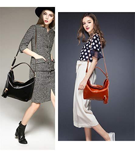 tassel shoulder Women's portable bucket Black bag bag XNQXW retro fashion Bolsos bandolera 8OqgFg