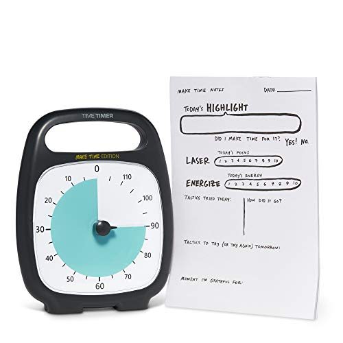 (Time Timer Plus 120 Minute Visual Timer - Make Time Edition Countdown Clock (Charcoal) and Notepad for Productivity and Focus )