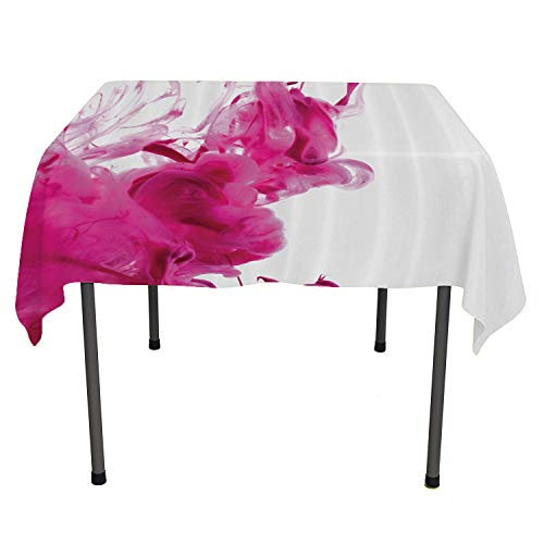 Magenta Decor, Waterproof Table CoverColor Splash Pastel Colored Hazy Flame-Like Watercolor Show Style, for Dining Room, 50x50 Inch Punch Pink White]()