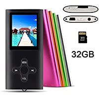 RHDTShop MP3 MP4 Player with a 32 GB Micro SD card, Support UP to 32GB TF Card, Portable Digital Music Player / Video / Media Player / FM Radio,Black