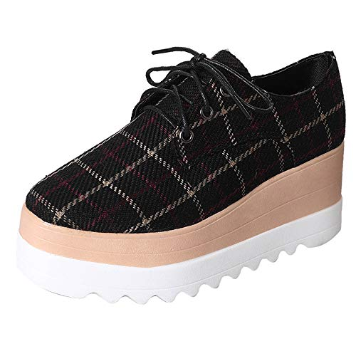 Creazrise Women's Fashion Plaid Square-Toe Lace-up Platform Wedge Oxford Shoes (Black,8) by Creazrise Womens Shoes