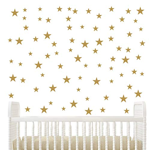 DIY Multi Size Gold Stars Wall Decor Stickers Removable Home Decoration Stars Wall Decal Baby Nursery Bedroom Wall Decor Stickers YYU-10 (Gold)