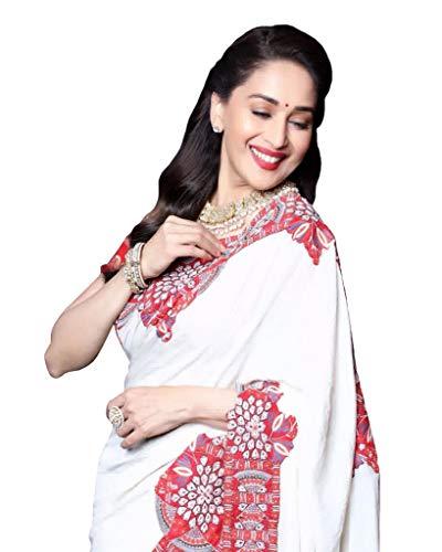 Madhuri Dixit White Chanderi Silk Saree (Best Of Madhuri Dixit)