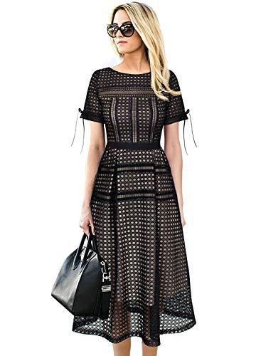 Line Tea (VFSHOW Womens Sexy Eyelet Mesh Patchwork Cocktail Party A-Line Midi Dress 2561 APT M)