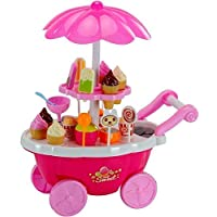 Plutofit® Super Market Candy Sweet Shopping Cart, Ice Cream Role Play Set Toy for Kids with Light and Music (39piece)