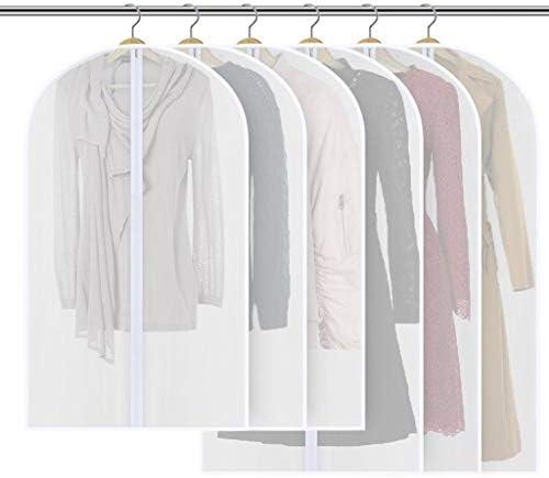Sannysis 6Pcs Translucent Garment Covers Bags Clothes Dust Covers Protectors Long Dress Cover (S)