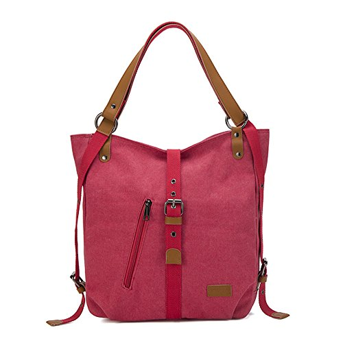 Bag Casual Travel Red Purse Backpack Women Shoulder Canvas EDLUX Crossbody Multifunction Daypack TwHOZqngx
