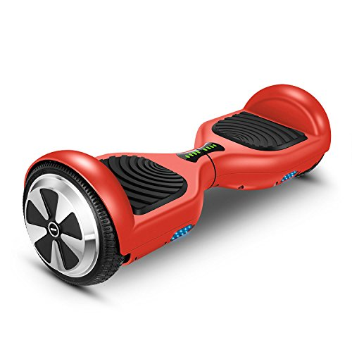 "Hoverboard Two-wheel Self-balancing Scooter-VEEKO UL2272 Certificated 6.5"" All-terrian Aluminum Alloy Wheels,350W Dual Motor for 9.6Km/hr Max Speed and 225lbs Max Weight-Red"