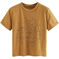 Romwe Women's Graphic Printed Cartoon Portrait Short Sleeve Casual T-Shirt Top Khaki Medium