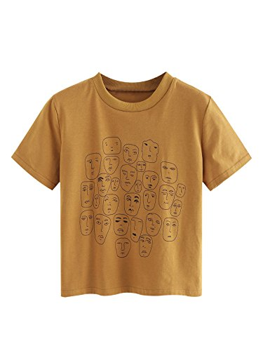 Romwe Women's Graphic Printed Cartoon Portrait Short Sleeve Casual T-Shirt Top Khaki Large