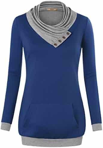 d1948cedd56 Miusey Women's Cowl Neck Casual Long Sleeve Hoodie Pullover Sweatshirt with  Kangaroo Pocket