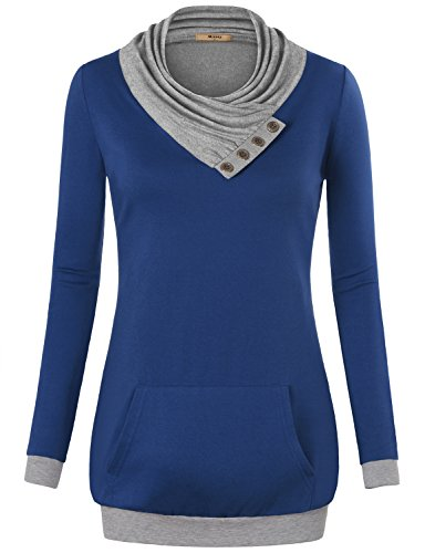(Miusey Casual Tops for Women, Ladies Long Sleeve Cowl Neck Pullover Sweatshirt with Kangaroo Pocket Plus Size Dark Blue Large)