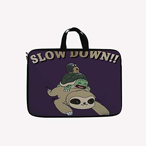 3D Printed Double Zipper Laptop Bag,Sloth Turtle Snail