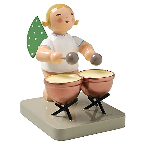 Wendt & Kuhn Blonde Hand Painted Grunhainichen Angel Kettle Drums Figurine