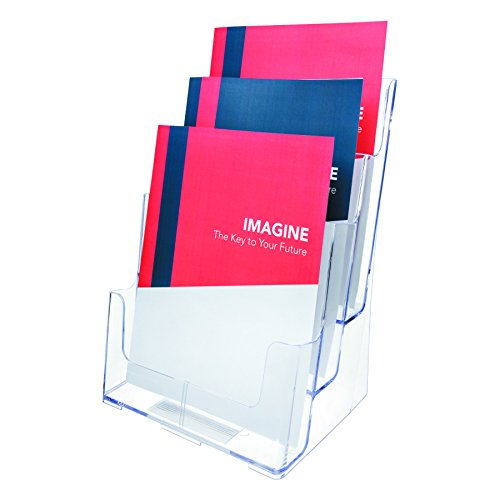 Deflecto Multi-Compartment Docuholder, Countertop or Wall Mount, 3-Tiered Literature Holder, Large Size, Clear, 9-1/2