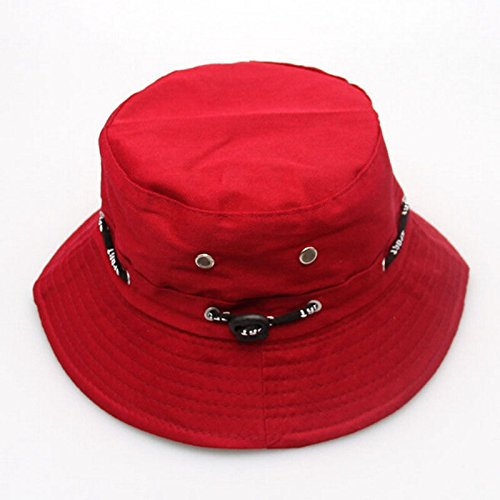 Xeno New Cotton Bucket Hat Boonie Flat Hunting Fishing Outdoor Summer Cap Unisex Red
