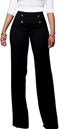 HuiSiFang Womens Casual Stretchy High Waisted Button Down Wide Leg Long Pants
