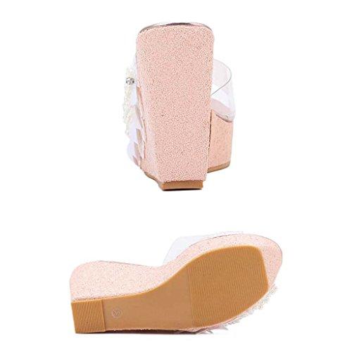 SHEO sandalias de tacón alto Señoras Estéreo Sombras Pilares Pórticos de porcelana con sandalias transparentes Sandalias Pink