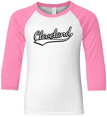 Amdesco Cleveland, Ohio Youth Raglan Shirt, Hot Pink/White XL