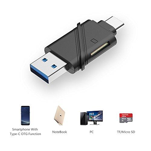 UNITEK Dual Option USB-C Type C (USB 3.1 Gen 1) & USB-A Type A (USB 3.0) Micro SD/SDHC/SDXC Card Reader Adapter, Supports Samsung S8, New MacBook, 2016 MacBook Pro, Chromebook Pixel-Black by Unitek (Image #2)'